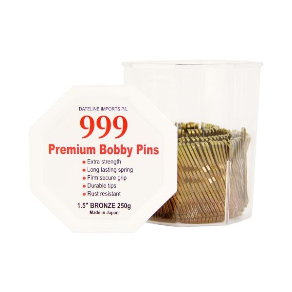 """999 Premium Bobby Pins 1.5"""" Bronze 250g"""