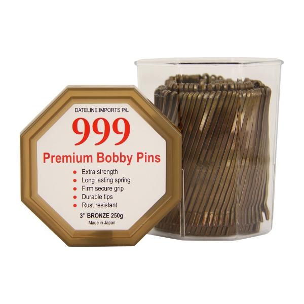 """999 Premium Bobby Pins 3"""" Bronze 250g"""