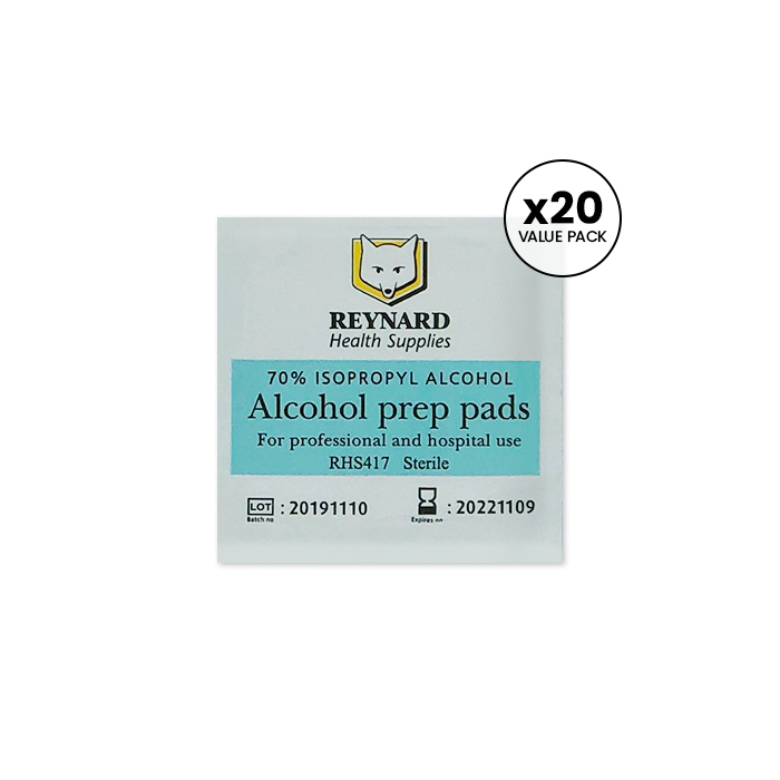Alcohol Prep Pads Swabs 70% Isopropyl Alcohol 20 Value Pack For $2.50 - Available at Catwalk Hair & Beauty Australia