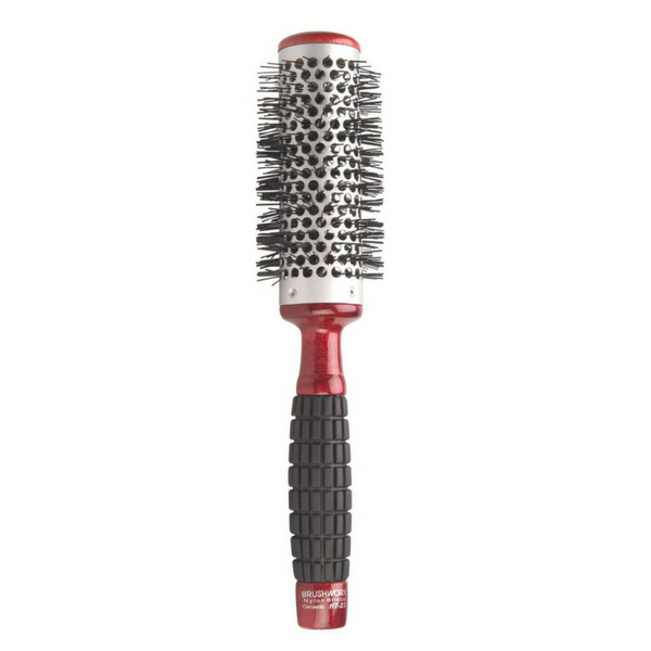 Brushworx Red Rubber Grip Hot Tube Hairbrush - Medium