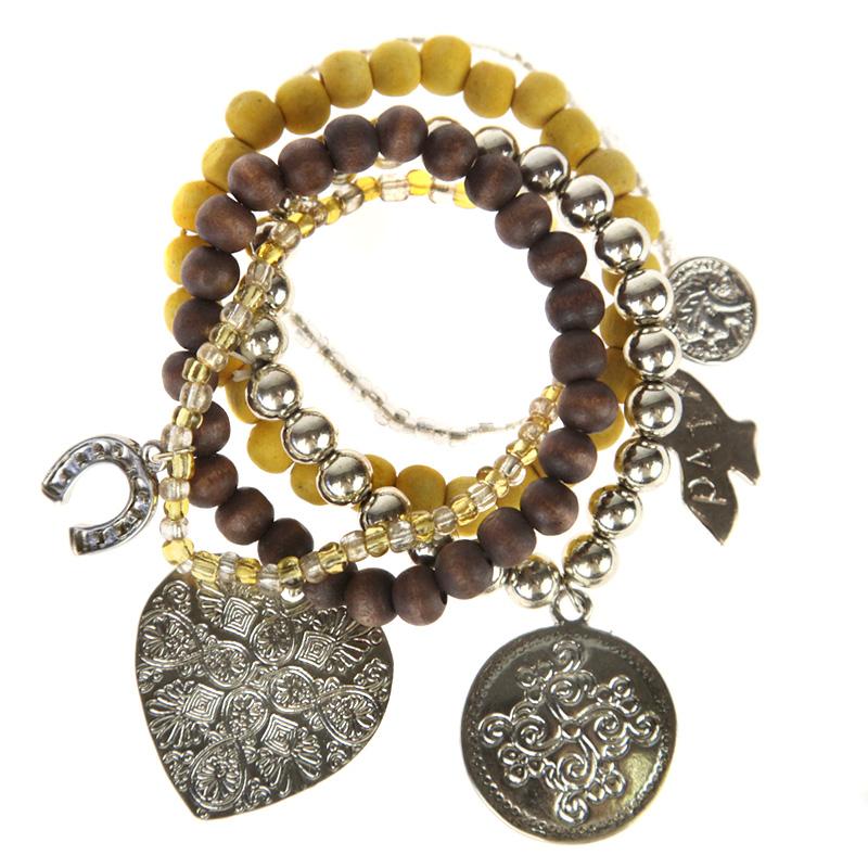 Atida Chunky Lucky Charm Bracelet Set
