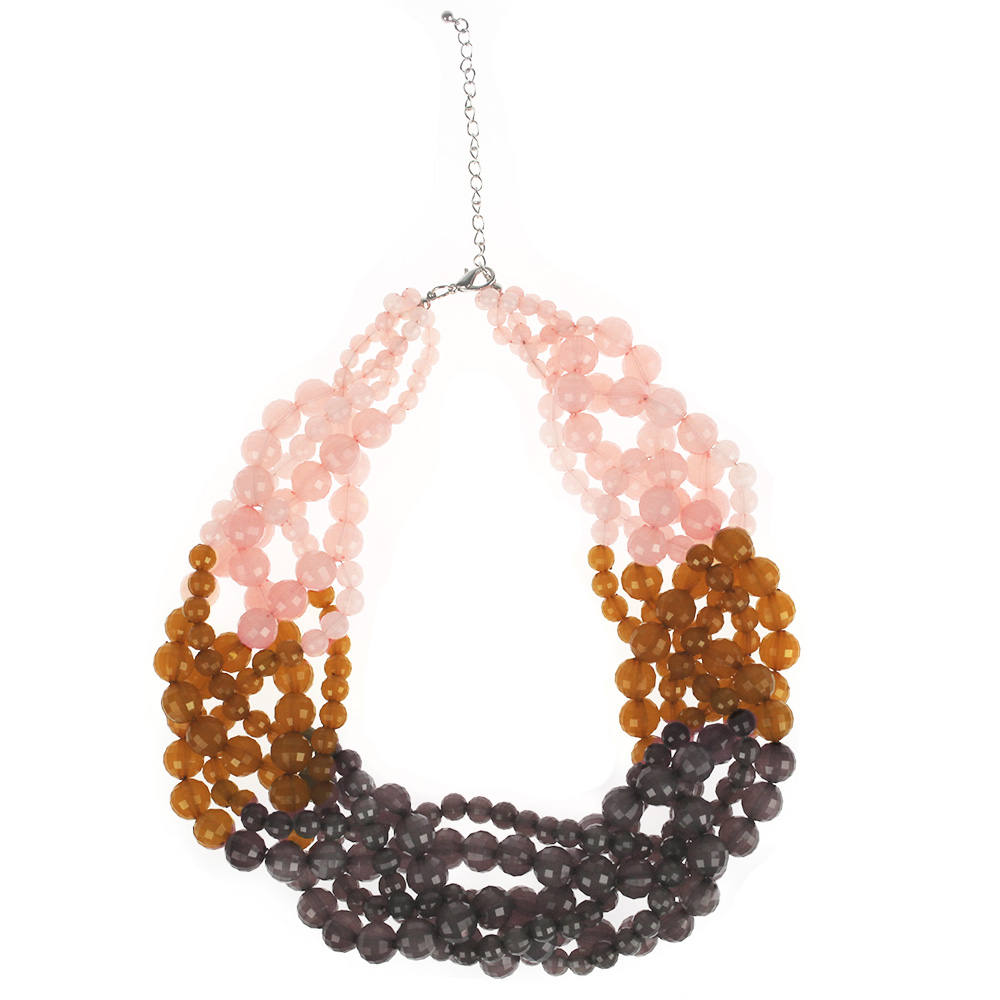 Atida Plaited Ombre Bead Necklace - Deep Violets