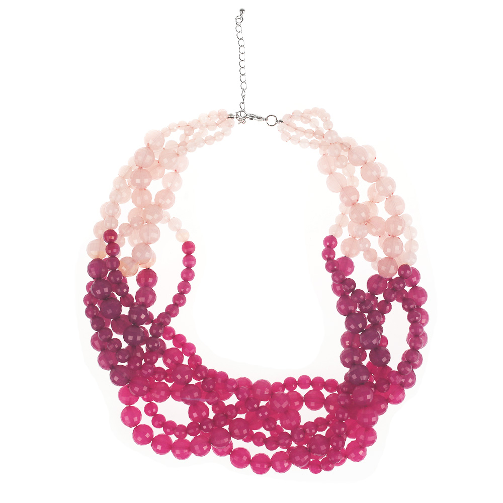 Atida Plaited Ombre Bead Necklace - Rose Peach