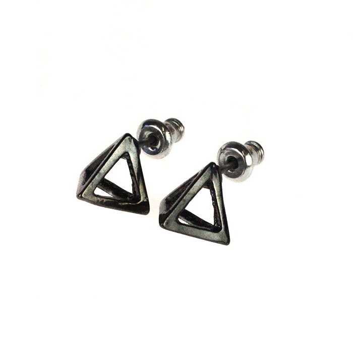 Atida Steel Pyramids Earrings Gunmetal
