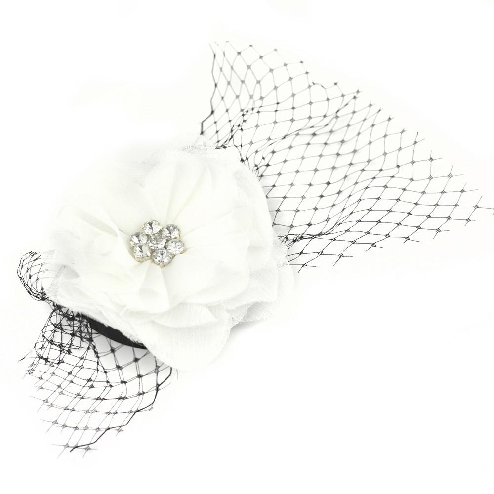 Catwalk Hair Accessories Black & White Flower Fascinator