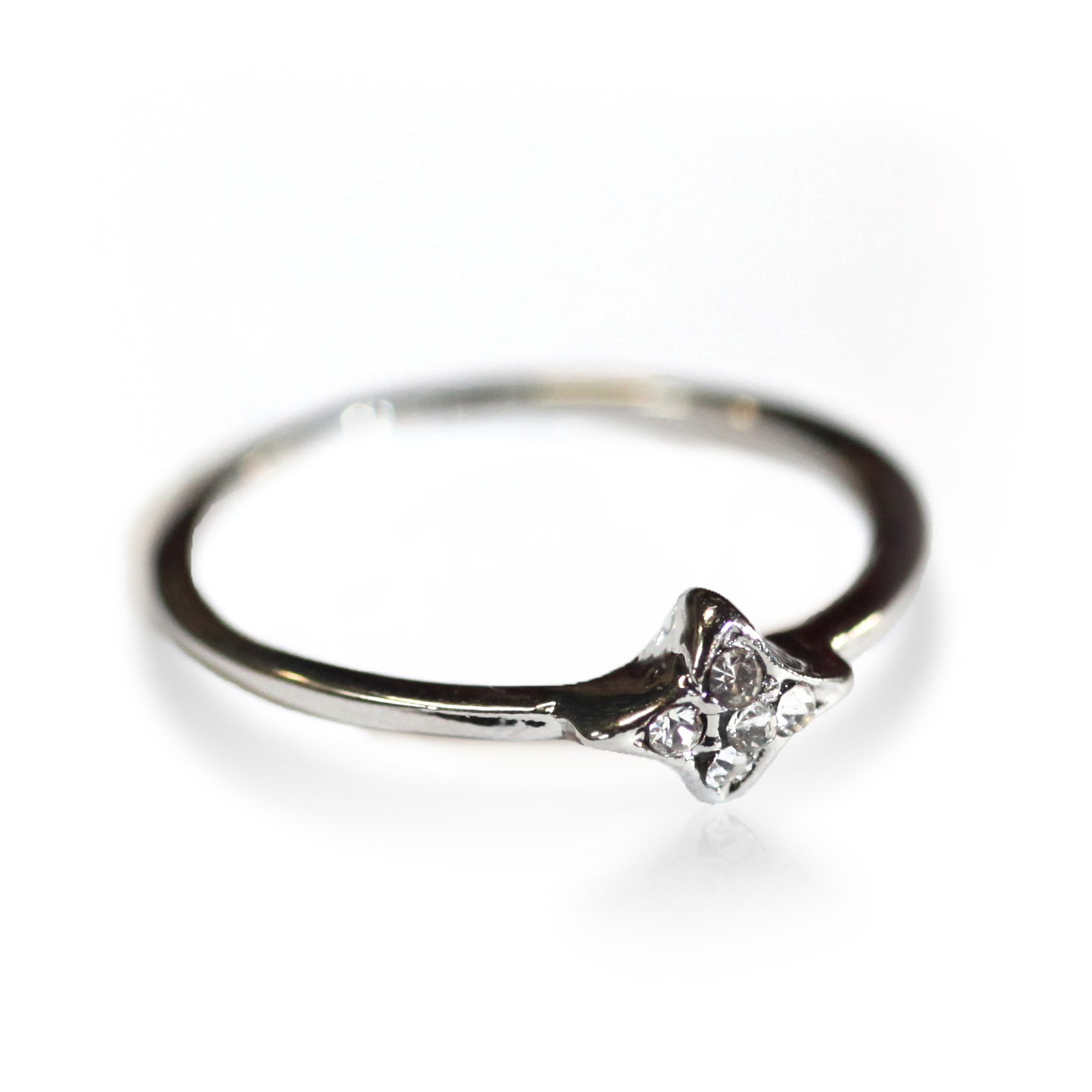 Atida Inset Diamontes Ring in Silver