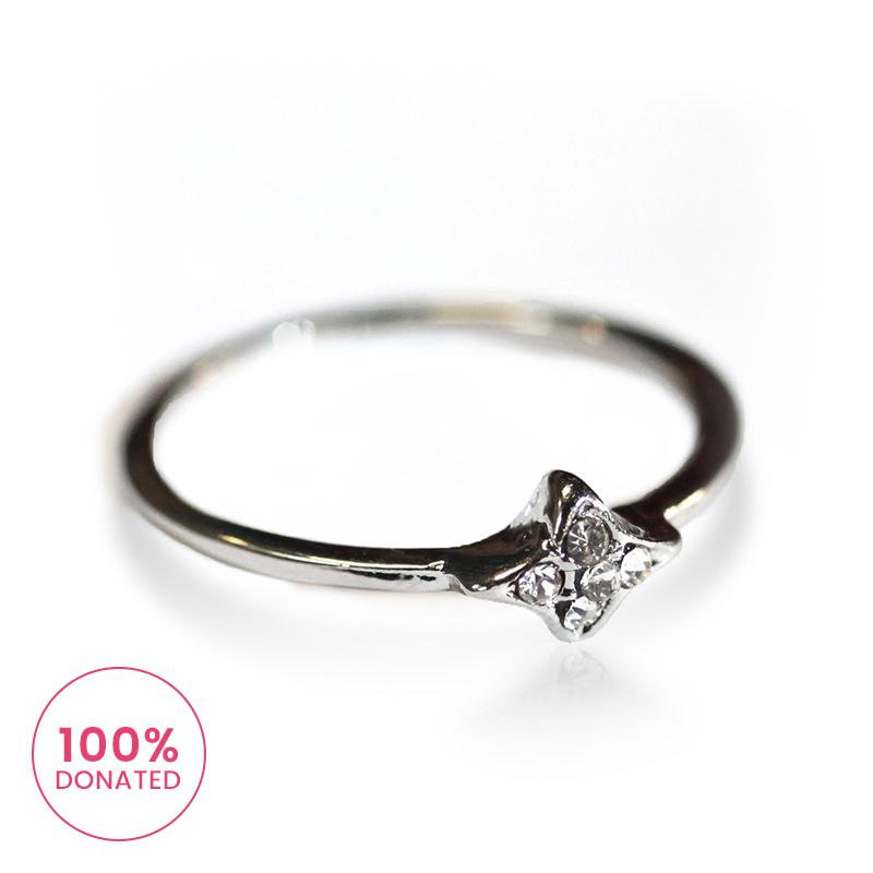 Atida Inset Diamontes Ring in Silver