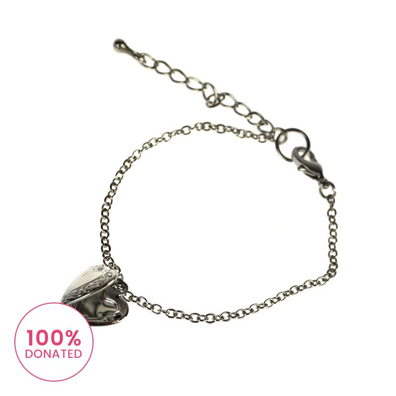 Atida Silver Heart Locket Bracelet