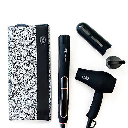 H2D Linear II Black And Rose Gold Hair Straightener and Mini Travel Dryer Set