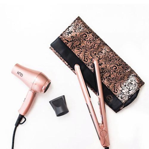 H2D Linear II Rose Gold Hair Straightener and Mini Travel Dryer Set