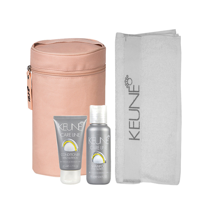 Keune Towel Travel Pack with Vital Nutrition Shampoo & Conditioner - Available at Catwalk Hair & Beauty Store Australia
