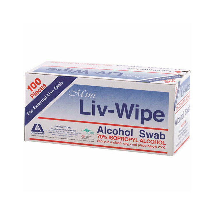 Livingstone Mini Liv-Wipe Alcohol Swab 100pk