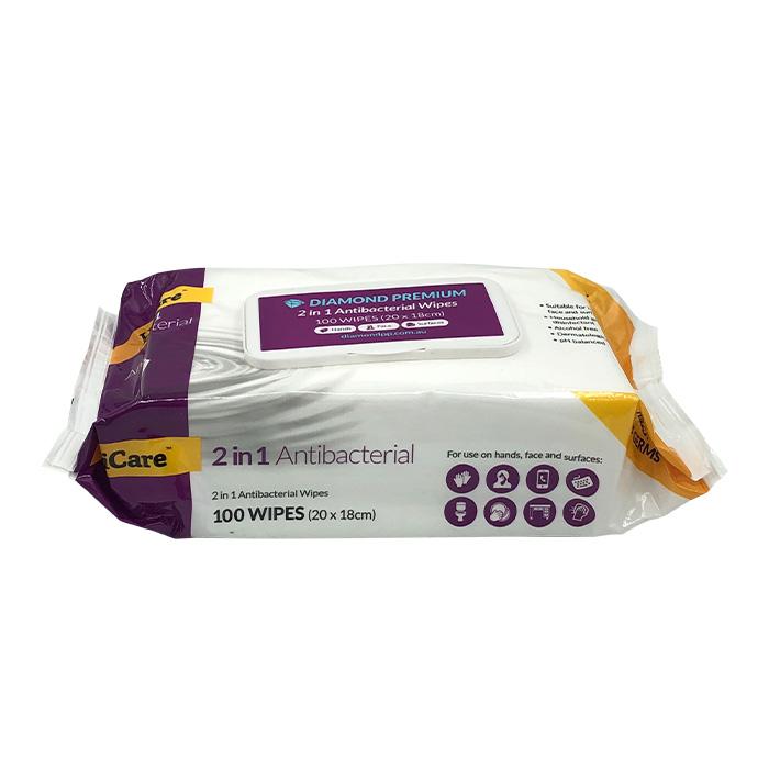 HiCare 2-in-1 Antibacterial Wipes 100pk